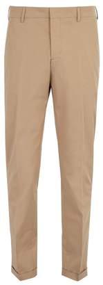 Prada Straight Leg Cotton Blend Chino Trousers - Mens - Beige