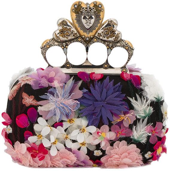 Alexander McQueenAlexander McQueen Heart Knuckle floral box clutch