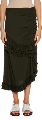 Marni Ruched Ruffled Maxi Skirt, Glass Green