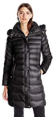 Andrew Marc Women's Down Coat with Inner Bib and Fur Trim Hood $301.99 thestylecure.com