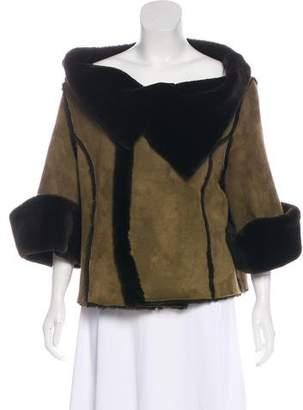 Oscar de la Renta Suede Shearling Jacket