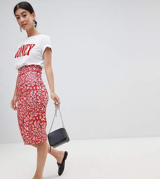 Lost Ink Petite Pencil Skirt With Side Split In Leopard
