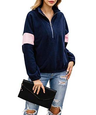 KIRUNDO Women's 2019 Stand-up Collar Sweatshirt Long Sleeves Tops Short Zip Up Sweater Solid Color Jackets (