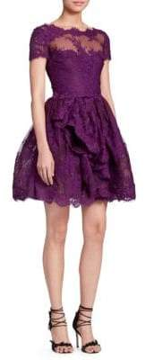 Marchesa Women's Lace& Mesh Cocktail Dress - Amethyst - Size 8