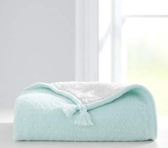 Pottery Barn Kids Luxe Knit Sherpa Baby Blanket, Seaglass
