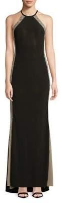 Xscape Evenings Studded-Stripe Halter Gown