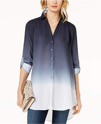 INC International Concepts I.n.c. Dip-Dyed Button-Front Tunic, Created for Macy's