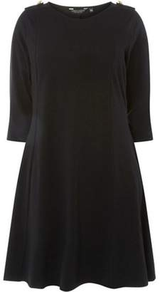 Dorothy Perkins Womens **DP Curve Black Button Shoulder Fit and Flare Dress