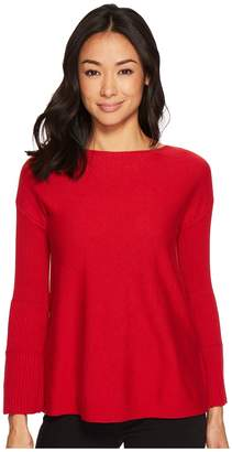 Vince Camuto Specialty Size Petite Ribbed Bell Sleeve Sweater Women's Sweater