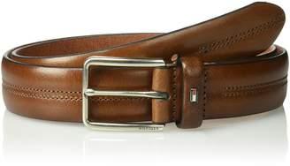 "Tommy Hilfiger Men's 1.3"" Wide 100% Leather Center Stitch Belt"