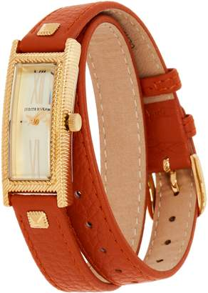 Judith Ripka Stainless Steel Goldtone Leather Wrap Westport Watch