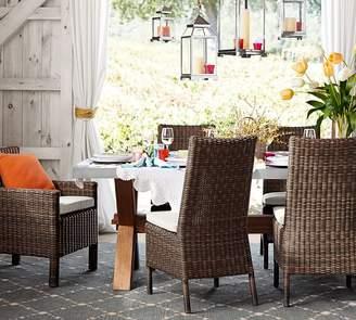 Pottery Barn Abbott Zinc Top Rectangular Fixed Dining Table & Torrey Chair Set - Espresso