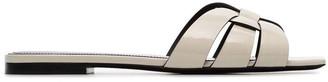 Saint Laurent Off-white Nu Pieds Woven Leather Flat Sandals