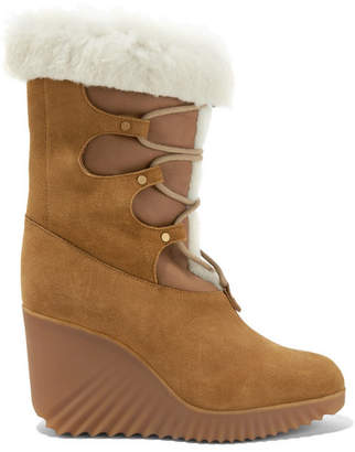 Chloé Shearling-trimmed Suede Wedge Boots - Tan
