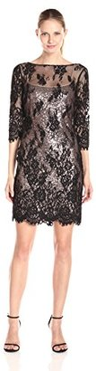 Marina Women's 3/4 Sleeve Lace Dress with Sequin Underlay $85.81 thestylecure.com