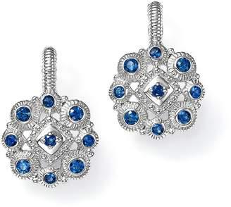 Judith Ripka Sterling Silver La Petite Snowflake Cluster Earrings with Sapphire