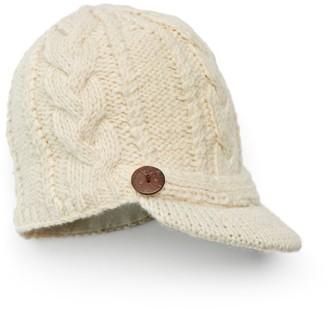 Sijjl SIJJL Women's Button Brim Cable-Knit Wool Beanie