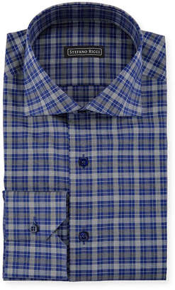 Stefano Ricci Men's Salerno Collar Check Dress Shirt