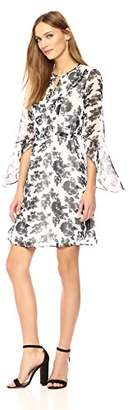 Wild Meadow Women's Long Ruffle Sleeve Tunic Dress M Black/White