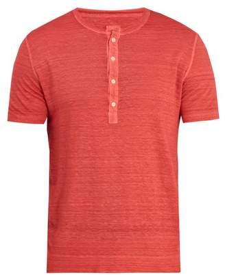 120% Lino Half button linen-jersey T-shirt