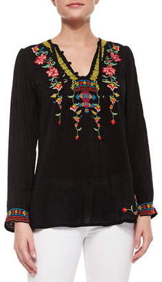 Johnny Was Suko V-Neck Embroidered Blouse $215 thestylecure.com