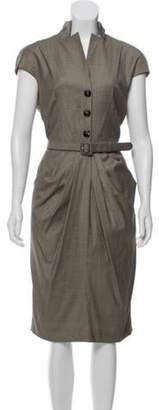 Christian Dior Houndstooth Belted Dress Beige Houndstooth Belted Dress
