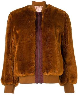 No.21 faux fur bomber jacket