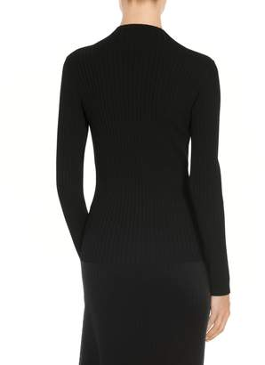 St. John Flat Rib Knit Mock Neck Sweater