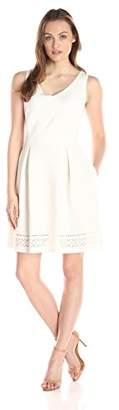 Lark & Ro Women's Sleeveless Laser Cut Scuba Fit and Flare Dress