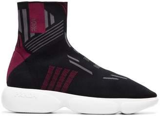 Prada black, grey and red cloudbust 40 high-top sneakers
