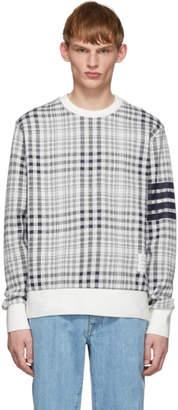 Thom Browne Navy and White Shadow Check Jacquard Sweatshirt