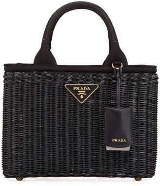 d6f2c7ac1998 Prada Wicker Square Basket Tote Bag