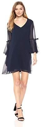 Bebe Women's Novelty Shimmer Dot Trapeze Dress with Ruffle Sleeve