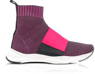 Balmain Neon Fuchsia Knit Ribbon Fabric and Leather Cameron Running Women's Sneakers