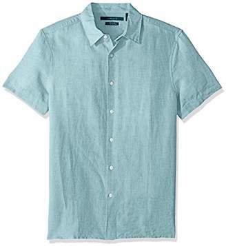 Perry Ellis Men's Short Sleeve Solid Linen Cotton Shirt