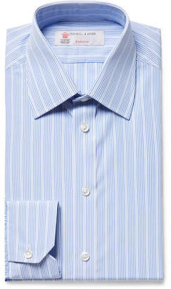 Turnbull & Asser Light-Blue Slim-Fit Striped Cotton-Poplin Shirt