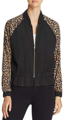 Three Dots Leopard Print Bomber Jacket