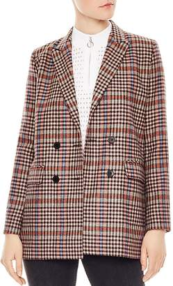 Sandro Solution Checked Double-Breasted Blazer
