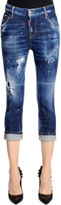 DSQUARED2 Cool Girl Cropped Washed Denim Jeans
