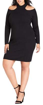 City Chic Dark Night Cold Shoulder Dress