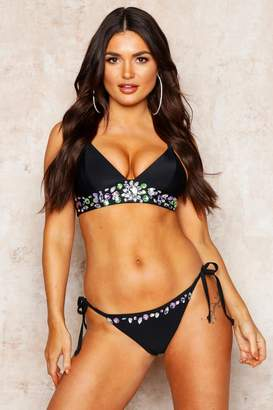 boohoo Premium Mix & Match Jewelled Cross Back Bikini Top