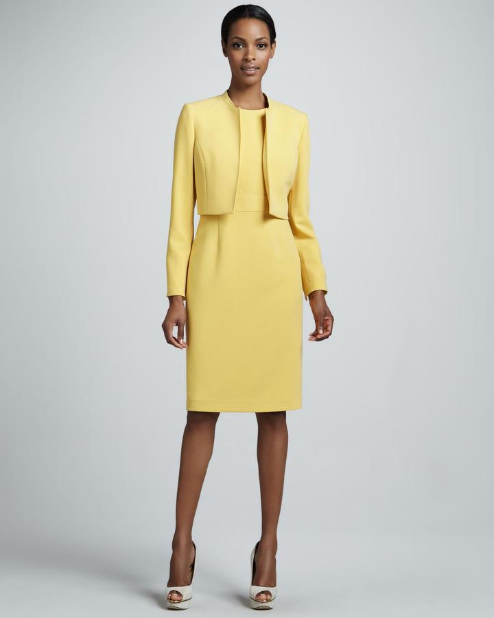 Albert Nipon Cropped Suit Jacket & Dress