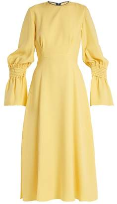 Roksanda Duana Shirred Cuff Fluted Silk Georgette Dress - Womens - Yellow