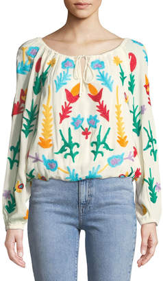 Chelsea & Theodore Embroidered Bracelet-Sleeve Peasant Blouse