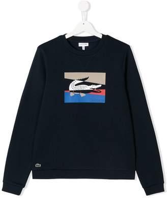 Lacoste Kids colourblock crocodile sweatshirt