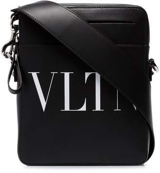 Valentino black garavani VLTN leather messenger bag