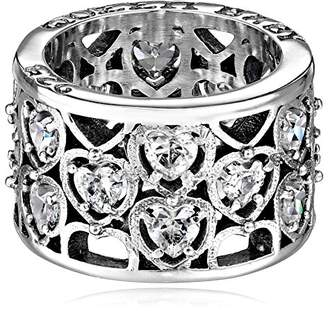 King Baby Studio Heart Patterned with Cubic-Zirconia Stones Ring
