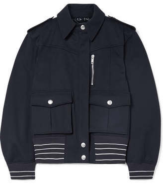 Leather-trimmed Cotton-twill Jacket - Midnight blue