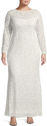 BLU SAGE Blu Sage Long Sleeve Evening Gown - Plus