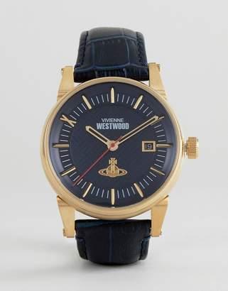Vivienne Westwood Vv065blbl Leather Watch In Navy